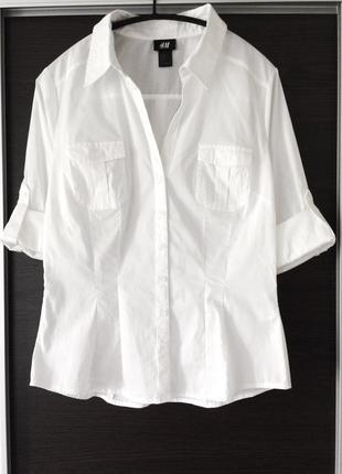 Базовая котоновая белая рубашка h&m2