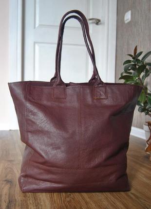 Кожаная сумка шоппер тоут stow london / шкіряна сумка2