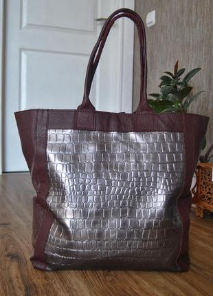 Кожаная сумка шоппер тоут stow london / шкіряна сумка1