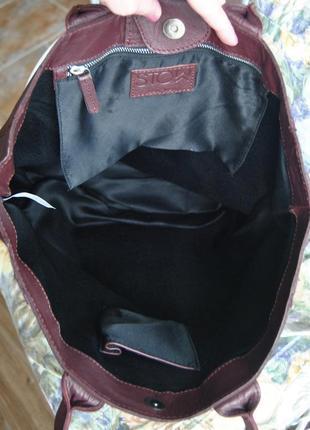 Кожаная сумка шоппер тоут stow london / шкіряна сумка9
