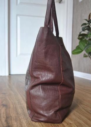 Кожаная сумка шоппер тоут stow london / шкіряна сумка4