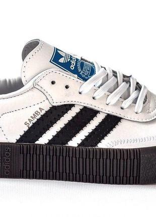 Шикарные женские кроссовки adidas samba white black 😍 (весна/ лето/ осень)9