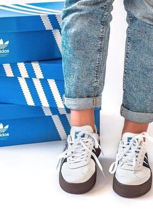 Шикарные женские кроссовки adidas samba white black 😍 (весна/ лето/ осень)8