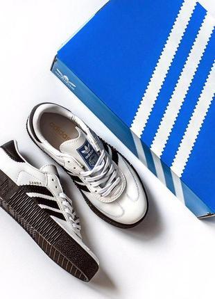 Шикарные женские кроссовки adidas samba white black 😍 (весна/ лето/ осень)7