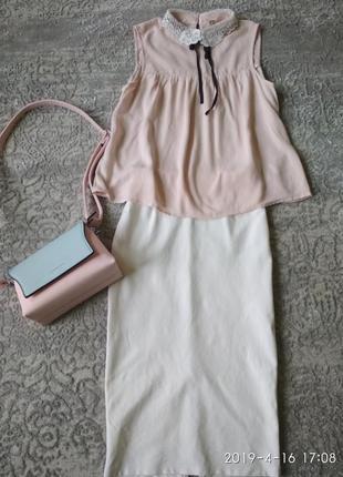 H&m стильная юбка карандаш и пудровая блуза-xs1