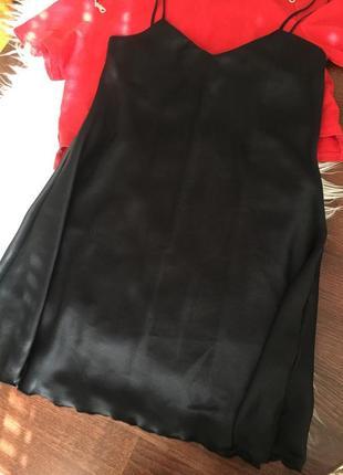 Атласное платье, с разрезом, пеньюар1