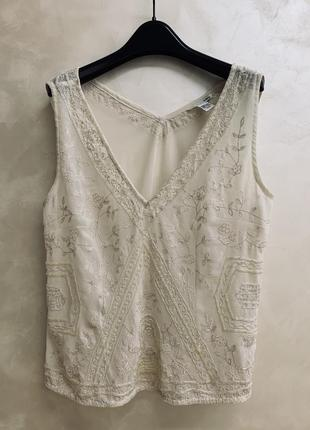 Блуза h&m, лето, стеклярус, вышивка