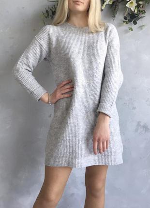 Теплое серое платье primark