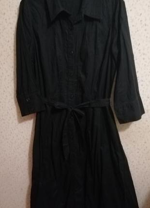 Платье рубашка чёрного цвета миди на пуговицах2
