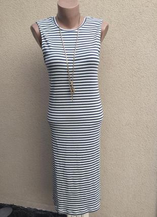 Новое платье-майка рубчик,сарафан по фигуре,в полоску-тельняшка,хлопок,морской стиль1