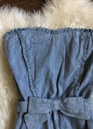 Шикарный джинсово льняной платье сарафан sandro paris6