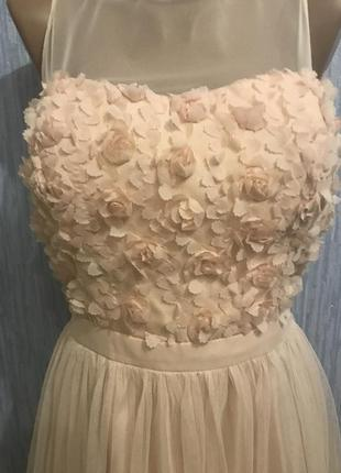 Шикарное персиковое платье на выпускной3