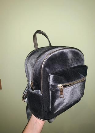 Велюровый серый рюкзак.стильный,трендовый!!!