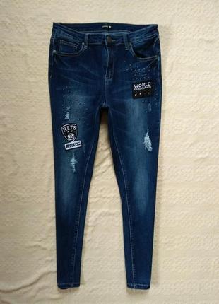 Крутые джинсы скинни с нашивками и высокой талией chicoree, 40 размер.1