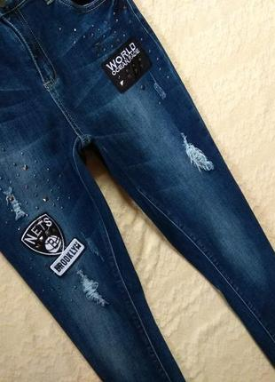 Крутые джинсы скинни с нашивками и высокой талией chicoree, 40 размер.5