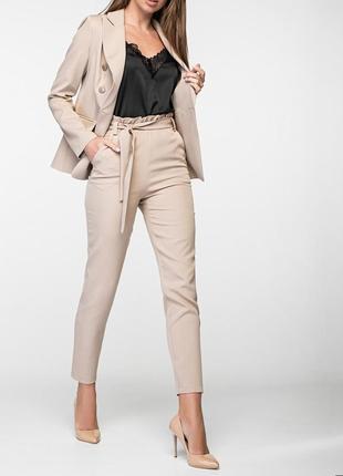 Женский деловой брючный костюм с двубортным пиджаком и зауженными брюками(4 цвета:xs,s,m)3