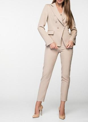 Женский деловой брючный костюм с двубортным пиджаком и зауженными брюками(4 цвета:xs,s,m)1