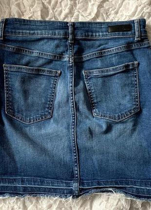 Джинсовая трендовая юбка карандаш с необработанным низом pieces m2