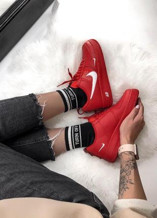 Шикарные кроссовки nike air force 1 low red 😍 (весна/ лето/ осень), (женские/ мужские)5