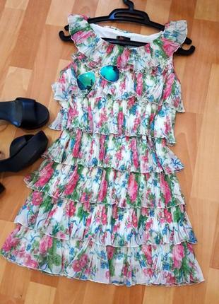 Плісерована сукня-туніка в квіти