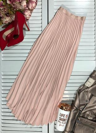 🌿 пудровая, плиссированная юбка с закругленным низом от h&m6