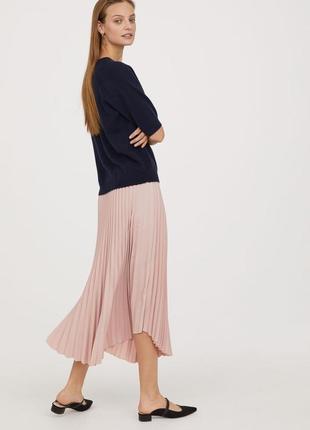 🌿 пудровая, плиссированная юбка с закругленным низом от h&m3