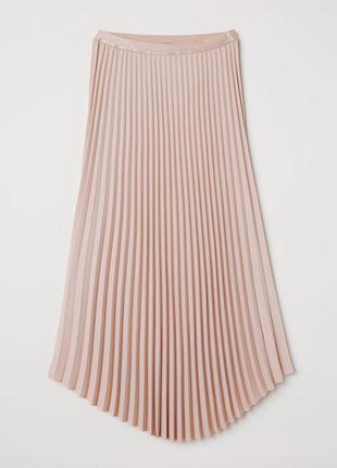 🌿 пудровая, плиссированная юбка с закругленным низом от h&m5