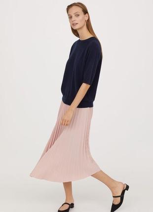 🌿 пудровая, плиссированная юбка с закругленным низом от h&m2