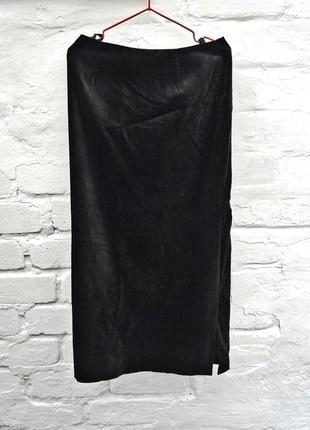 Чёрная бархатная макси юбка от next. длинная классическая юбка с боковым разрезом