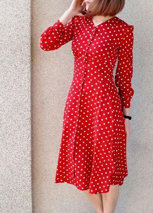 Платье длины миди в горошек! размер s.1