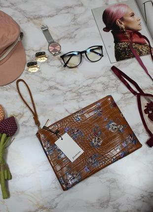 Обнова! клатч сумка эко кожа крокодила на ручке карамель рыжий флористический принт новый3