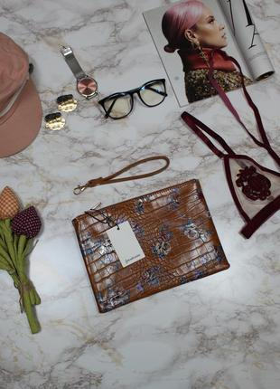 Обнова! клатч сумка эко кожа крокодила на ручке карамель рыжий флористический принт новый4