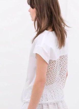 Нежная кружевная блуза zara basic, xs, лимитированная коллекция1
