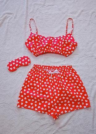 Пижама топ и завышенные шорты принт сердечки1