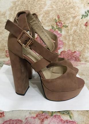 Кожаные замшевые босоножки туфли босоножки размер 355