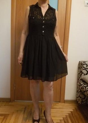 Стильное комбинированное гипюром платье3