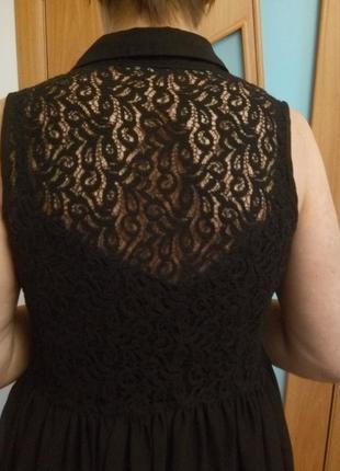 Стильное комбинированное гипюром платье4