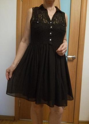 Стильное комбинированное гипюром платье5