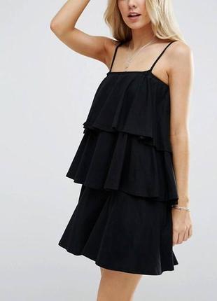 Обнова! стильное платье мини объемные воланы на бретелях новое качество asos