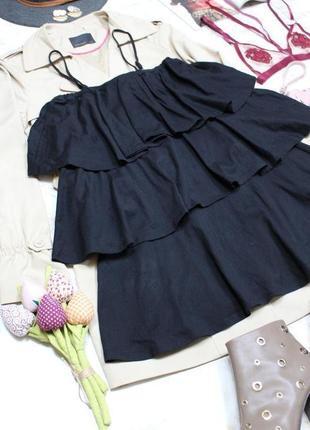 Обнова! стильное платье мини объемные воланы на бретелях новое качество asos8