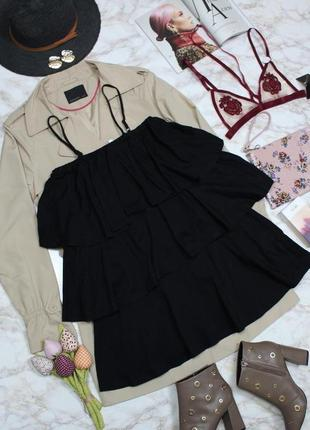 Обнова! стильное платье мини объемные воланы на бретелях новое качество asos5