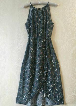 Длинное платье/сарафан в цветочный принт с запахом1