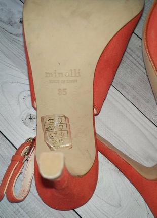 35-36р замша,кожа!новые minelli,красные босоножки,туфли с острым носком5