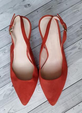 35-36р замша,кожа!новые minelli,красные босоножки,туфли с острым носком2