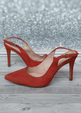 35-36р замша,кожа!новые minelli,красные босоножки,туфли с острым носком1