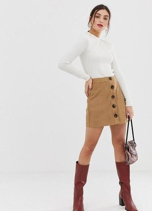 Обнова! юбка мини трапеция камел беж с пуговицами декор качество1