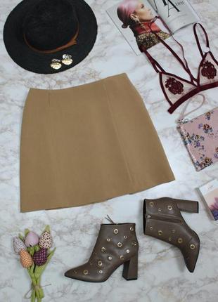 Обнова! юбка мини трапеция камел беж с пуговицами декор качество7