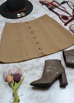 Обнова! юбка мини трапеция камел беж с пуговицами декор качество4