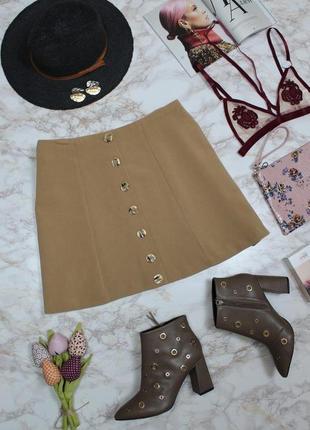 Обнова! юбка мини трапеция камел беж с пуговицами декор качество2