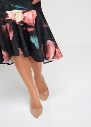 Обнова! платье миди футляр годе волан качество флористический принт новое4